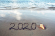 canvas print picture - New Year 2020 is coming concept on tropical beach.