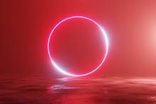Glowing Neon Red Circle, Porta...