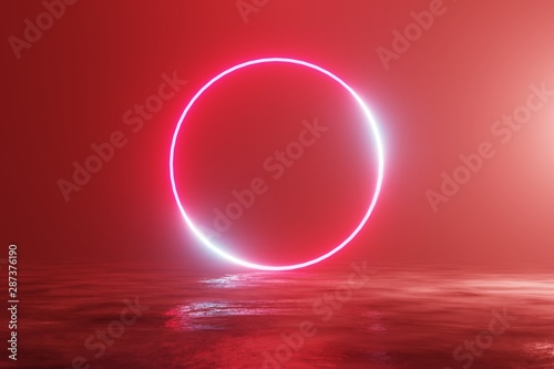 Recess Fitting Brick Glowing neon red circle, portal, gate. Fantastic scene. 3d rendering
