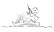 Vector cartoon stick figure drawing conceptual illustration of happy man or businessman sitting in rowing boat with electric drill in hand and watching the boat sinking. Concept of failure.