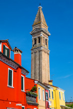Leaning Bell Tower Of San Martino Church In Burano