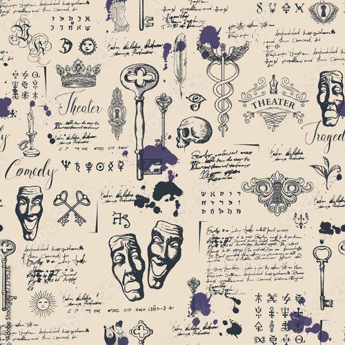 Tapety Vintage  wektor-wzor-na-temat-teatru-i-dramatu-z-rysunkami-teatralnych-masek-vintage-klucze-i-napis-tapeta-retro-papier-do-pakowania-lub-tlo-na-tekstylia-ze-szkicami-i-plamami