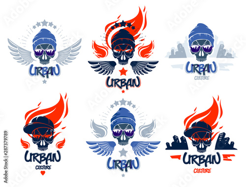 Fotografía Urban culture style skull in sunglasses vector logos or emblems set, gangster or thug illustrations, anarchy chaos hooligan, ghetto theme