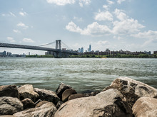 Williamsburg Bridge View From River Front Park In Brooklyn New York.