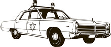 Vintage Police Car, Vector Drawing, Graphic, Isolated, Monogram, Symbol, Logo