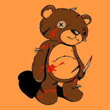 Ragged Teddy Bear Carry Kitchen Knife With Blood Hand Drawn Cartoon Vector