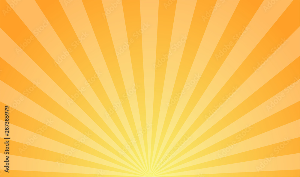 Fototapeta Sunburst retro sun rays yellow background. Abstract summer sunny. Vintage radial texture.