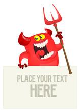 Cartoon Red Devil Monster Holding Blank Wooden Board Or Placard. Halloween Design
