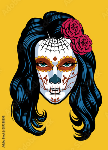Photographie women on sugar skull make of dia de los muertos