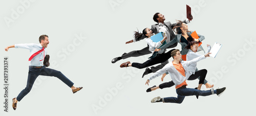 Poster Akt Happy office workers jumping and dancing in casual clothes or suit with folders on white. Ballet dancers. Business, start-up, working open-space, motion and action concept. Creative collage.