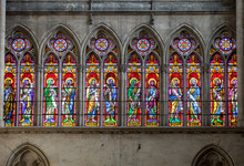 Colorful Stained Glass Windows In Troyes Cathedral  Dedicated To Saint Peter And Saint Paul. France.