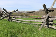 Old Wooden Fence In A Field