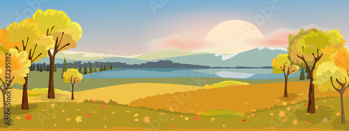 Panorama autumn landscape with yellow trees mountain and lake. Fantasy wonderland landscape in fall season. Vector illustration.