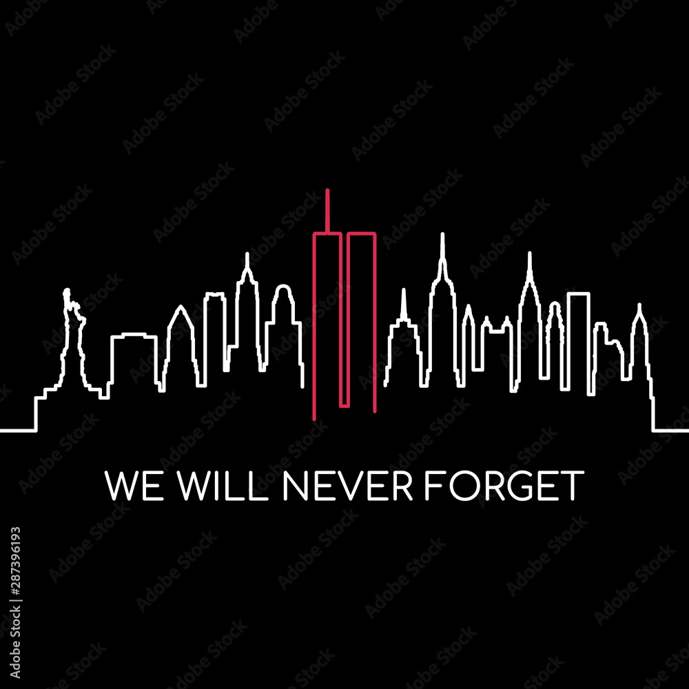 Fototapeta We will never forget memorial banner. USA Remembrance day vector design.