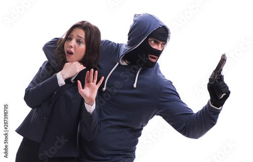 Obraz na plátně  Businesswoman is kidnapped by the gunman