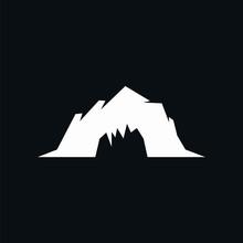 Cave Logo Silhouette White Black