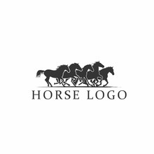 Five Horse Running Icon Vector...