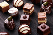 canvas print picture - a lot of variety chocolate pralines, belgian confectionery gourmet chocolate.