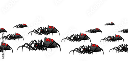 Seamless pattern with black widow spiders. Wallpaper Mural