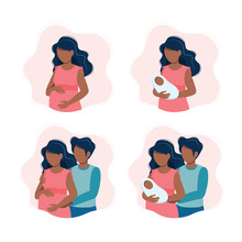 Black Pregnant Woman, Woman Holding A Newborn Baby, An Expecting Black Couple, Parents With A Baby. Vector Illustration In Cartoon Style.