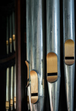 Closeup Of Old Organ Pipes In Old Church
