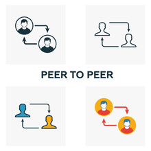 Peer To Peer Icon Set. Four Elements In Diferent Styles From Crypto Currency Icons Collection. Creative Peer To Peer Icons Filled, Outline, Colored And Flat Symbols