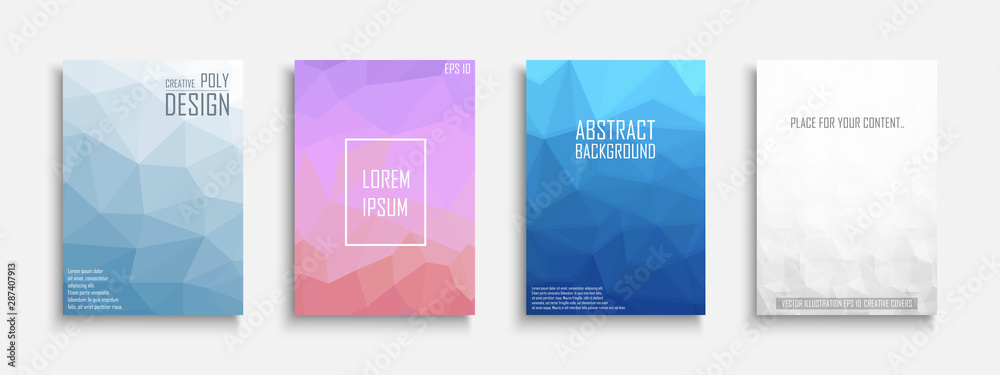 Fototapety, obrazy: Collection of vector bright abstract polygonal contemporary templates, posters, placards, brochures, banners, flyers, backgrounds and etc.