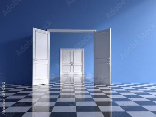 Photo sur Toile Pain empty blue interior with open double door and chess floor,