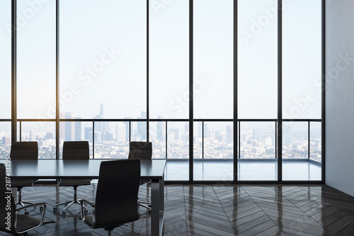 Leinwand Poster  Bright meeting room interior with city view