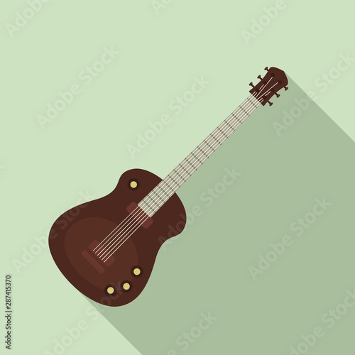 Guitar instrument icon. Flat illustration of guitar instrument vector icon fo...