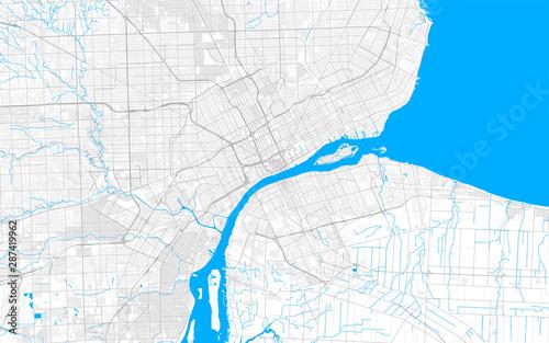 Fototapeta Rich detailed vector map of Detroit, Michigan, U.S.A.