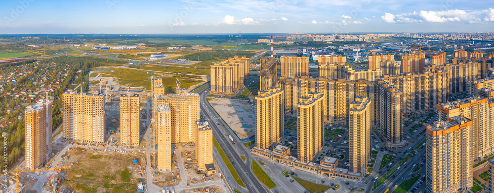 Fototapety, obrazy: Aerial view panoramic huge residential area with multi-storey residential complexes, away from the industrial area of the city and the sky.