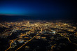 canvas print picture - Aerial view of Moscow at night. City of Moscow picture from airplane.