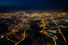 Aerial View Of A City Of Moscow At Night. City Of Moscow Picture Made From Airplane.