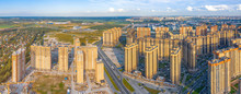 Aerial View Panoramic Huge Residential Area With Multi-storey Residential Complexes, Away From The Industrial Area Of The City And The Sky.