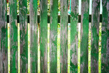 Old Painted Green Wooden Fence...