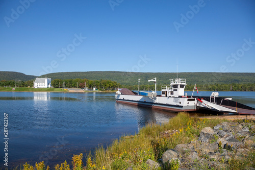 Cable ferry CAOLAS SILIS (Julia's Strait) operating in Little Narrows, Cape Breton Island, Nova Scotia Canada Fototapeta