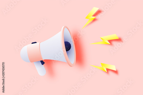 Megaphone announcement with paper art style Canvas Print