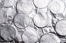 Silver Bitcoin On White Background.