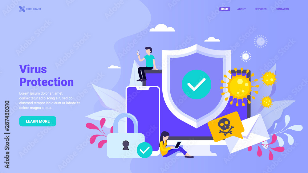 Fototapeta Virus protection, antivirus, firewall, anti hacker landing page concept. Flat vector illustration with tiny characters for landing page, web site, banner, hero image.
