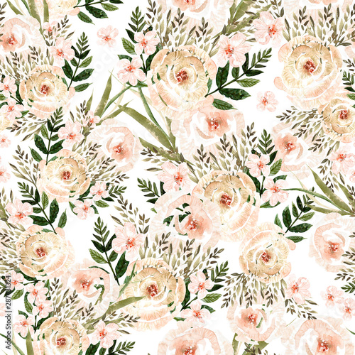 Fototapeten Künstlich Beautiful Watercolor seamless pattern with roses flowers and herbs.