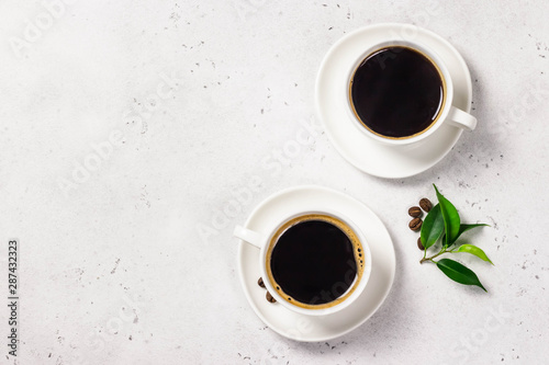 Printed kitchen splashbacks Cafe Two cups of black coffee, brown sugar. Top view, space for text.
