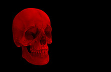 3d Rendering. A Horror Red Halloween Human Head Skull Bone Isolated On Black Background.