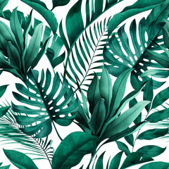 Panel SzklanyTropical seamless pattern with exotic monstera, banana and palm leaves on white background.