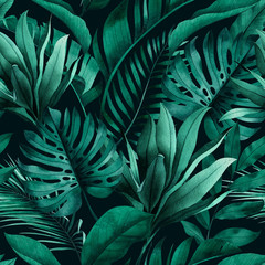 Fototapeta Do kawiarni Tropical seamless pattern with exotic monstera, banana and palm leaves on dark background.