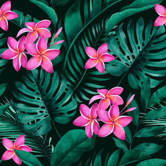 Fototapeta Do salonu Tropical seamless pattern with plumeria flowers, exotic monstera, banana and palm leaves on dark background.
