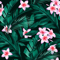 Panel SzklanyTropical seamless pattern with plumeria flowers, exotic monstera, banana and palm leaves on dark background.