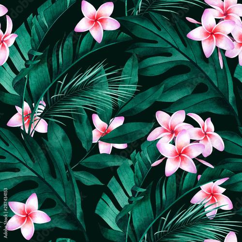 tropikalny-wzor-z-kwiatow-plumeria-egzotycznych-monstera-bananow-i-lisci-palmowych-na-ciemnym-tle