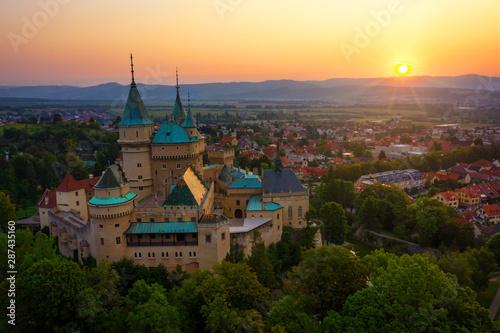 Foto op Plexiglas Oude gebouw Aerial view of Bojnice medieval castle, UNESCO heritage in Slovakia at sunrise