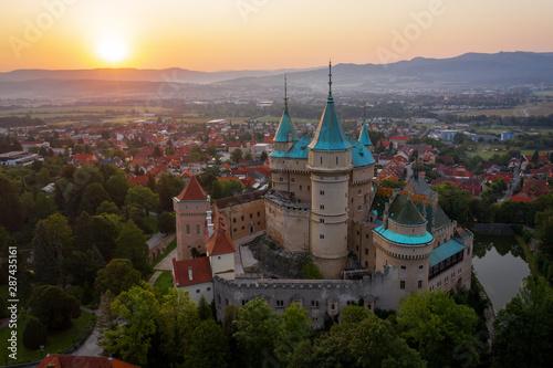 Keuken foto achterwand Oude gebouw Aerial view of Bojnice medieval castle, UNESCO heritage in Slovakia at sunrise